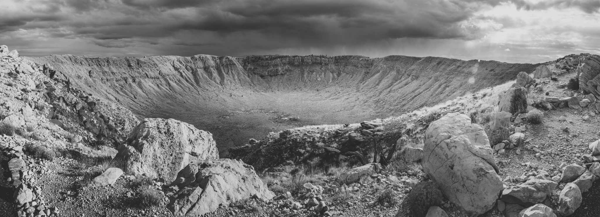 black and white meteor crater panoramic