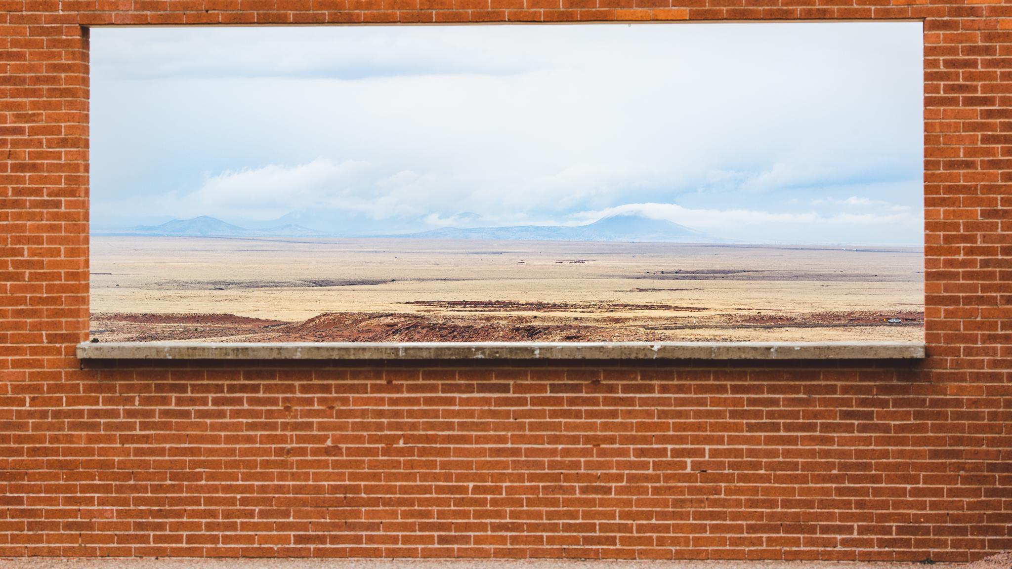 brick window meteor crater
