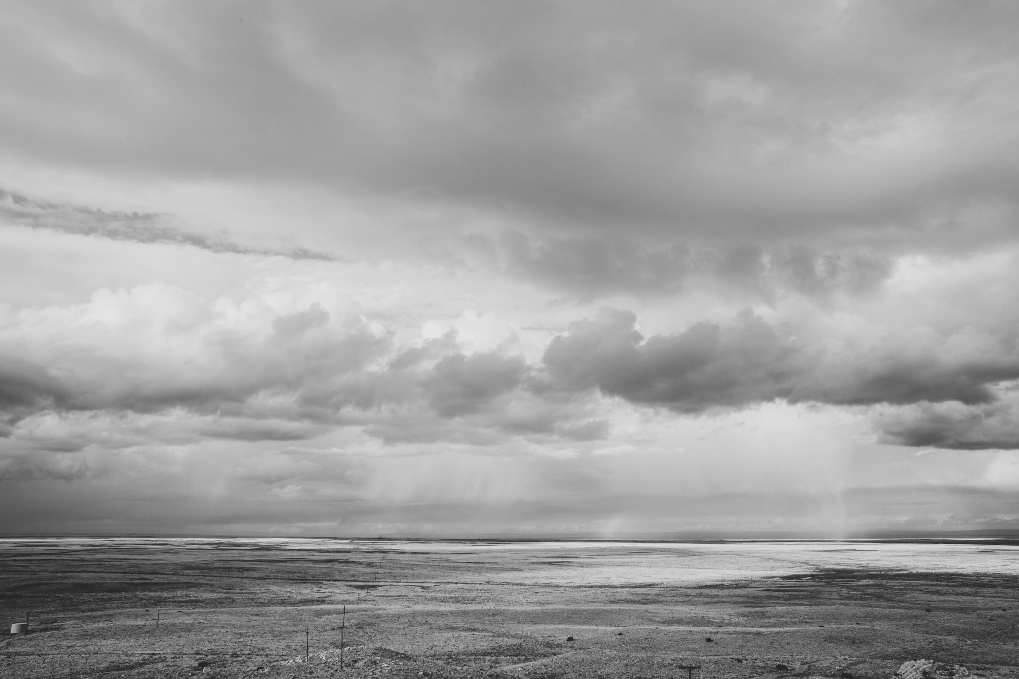 desert storm on the horizon black and white arizona