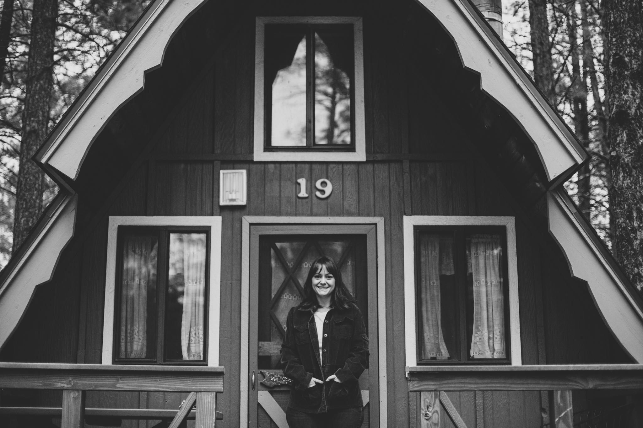 flagstaff arizona mountain inn cabin black and white