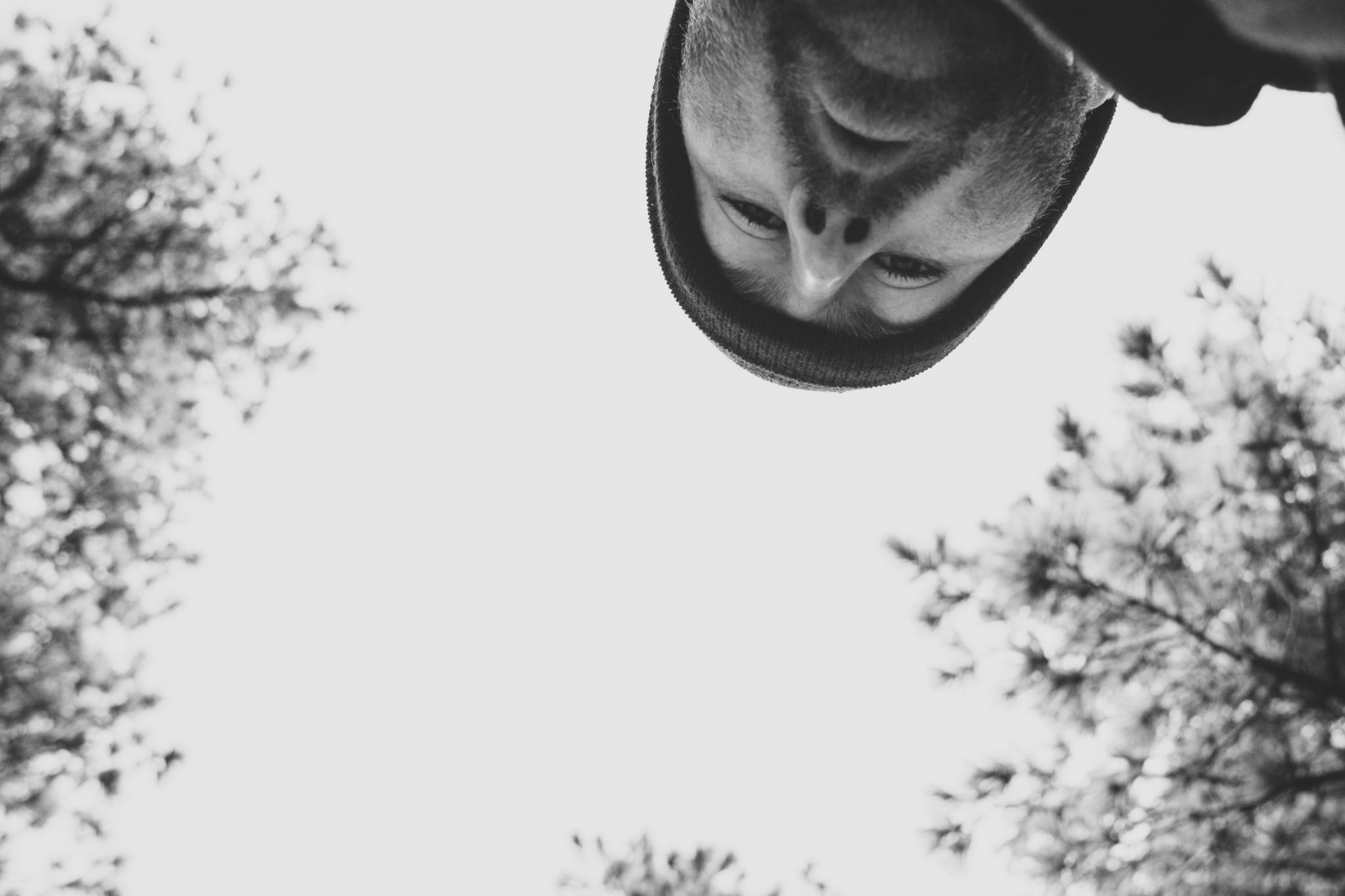 black and white selfie aaron kes flagstaff trees