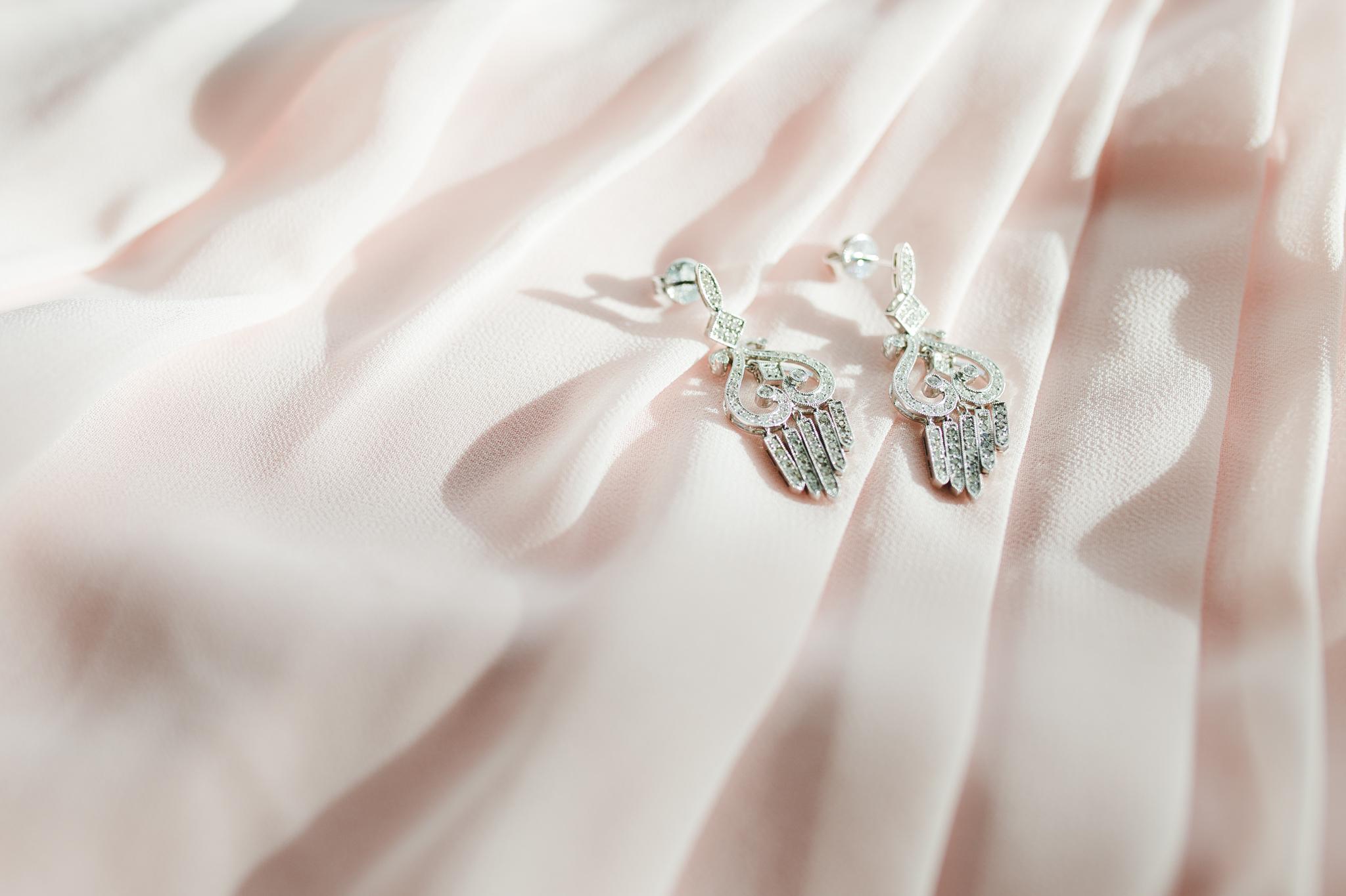 brides earrings detail shot