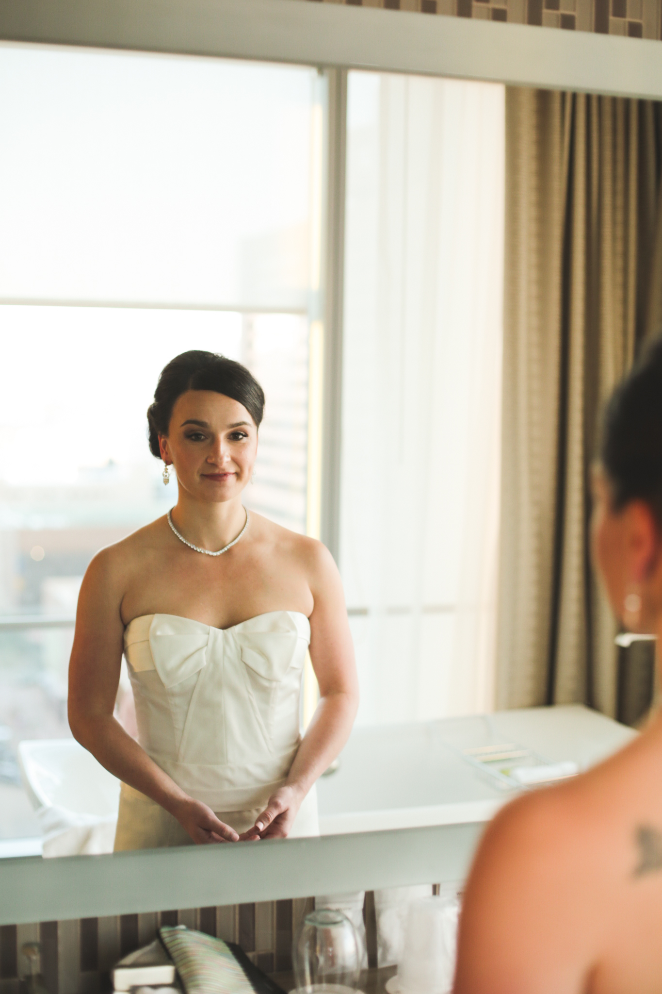 bride smiling and just about ready hj