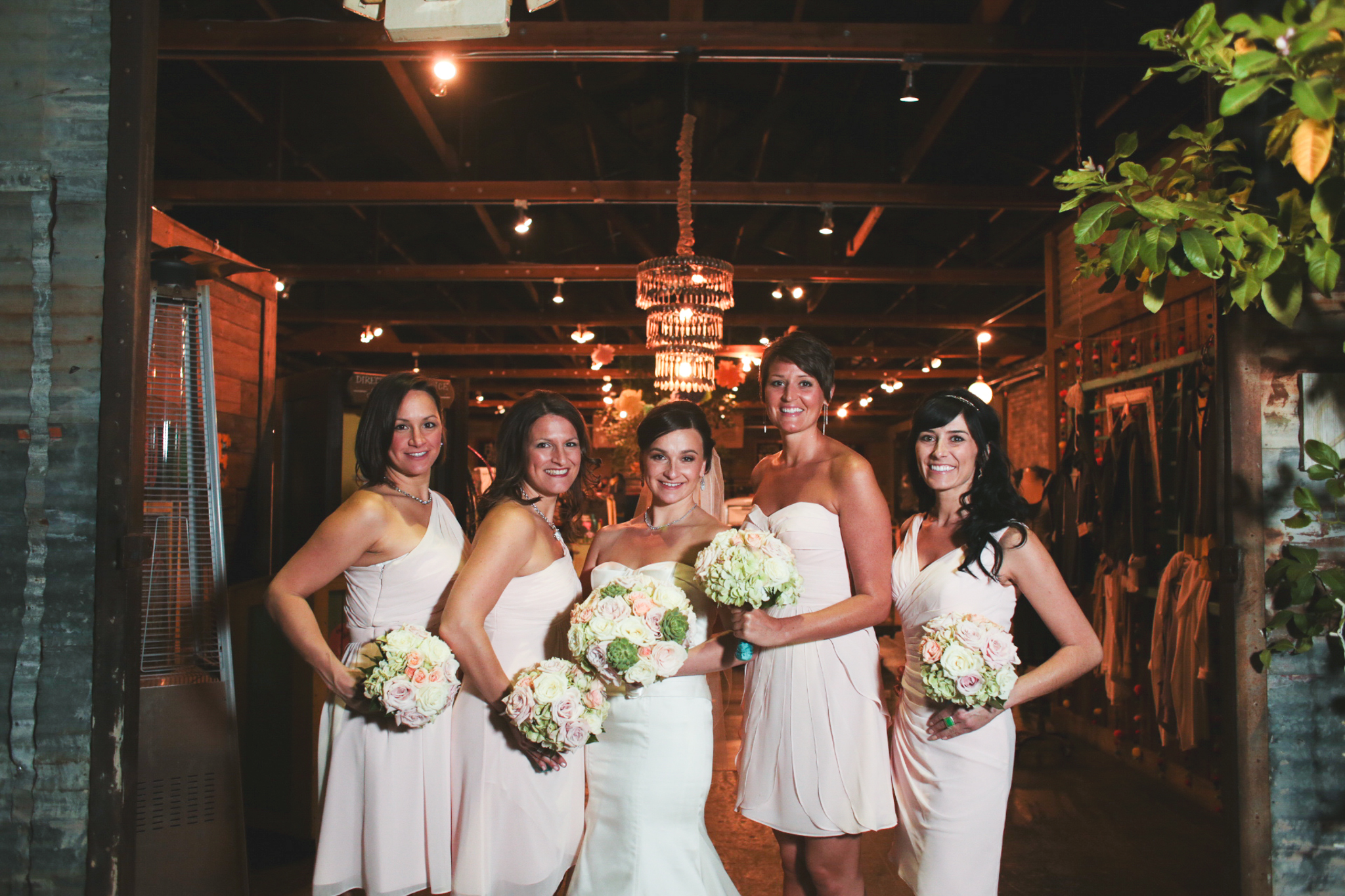 bride and bridesmaids outside the duce phoenix hj