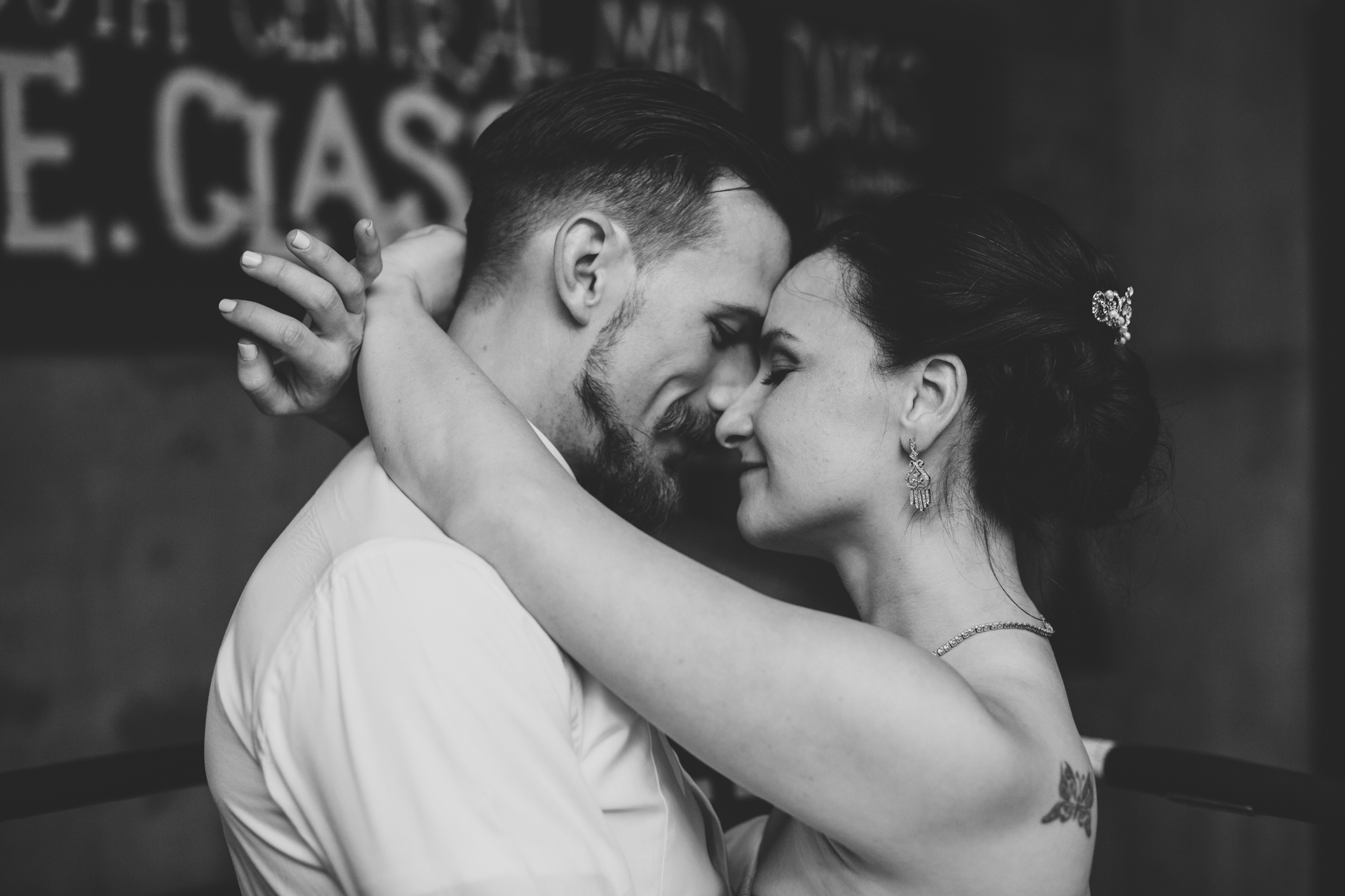 bride and groom close intimate black and white hj
