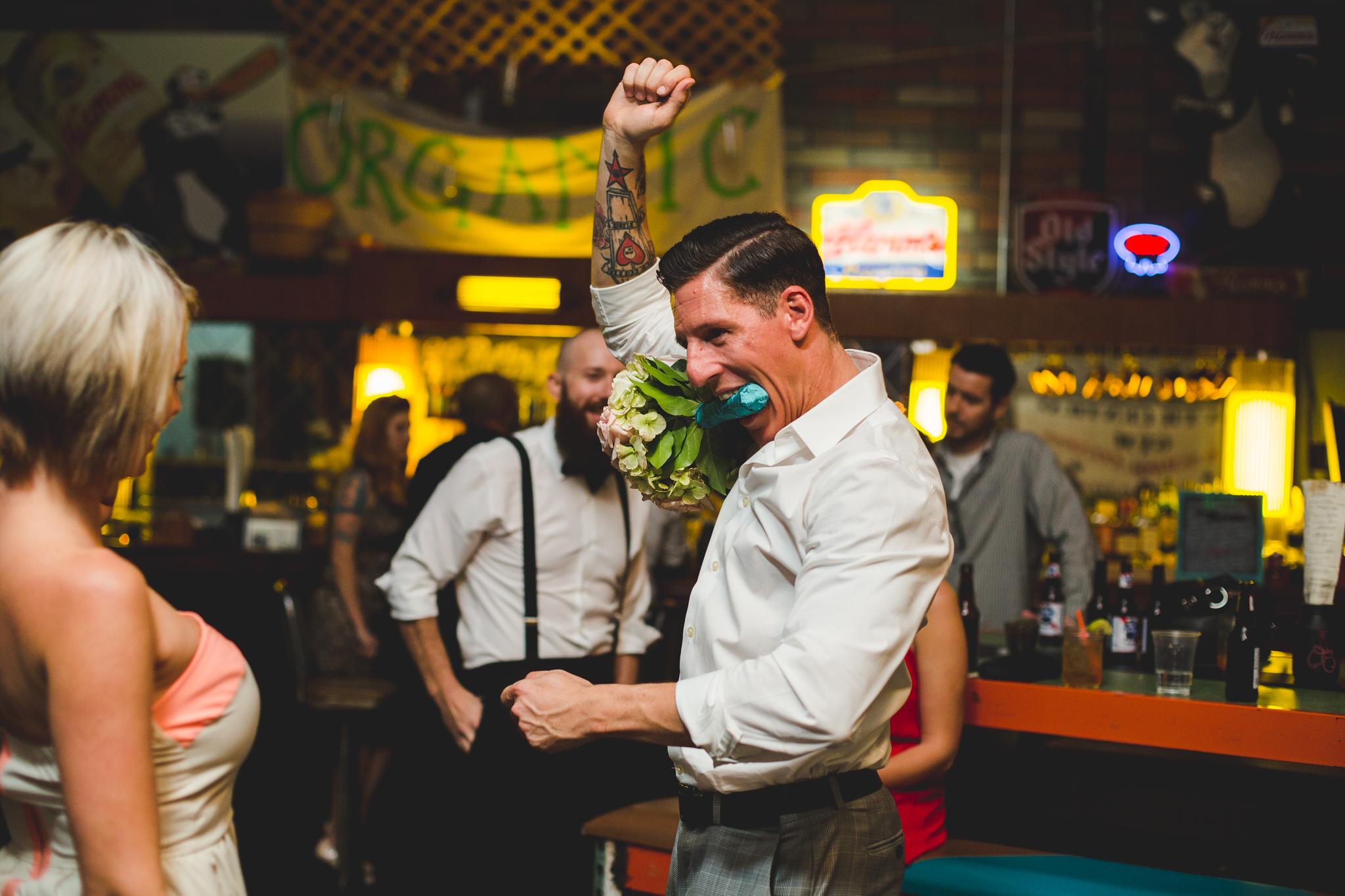 man dancing hilariously at wedding reception hj