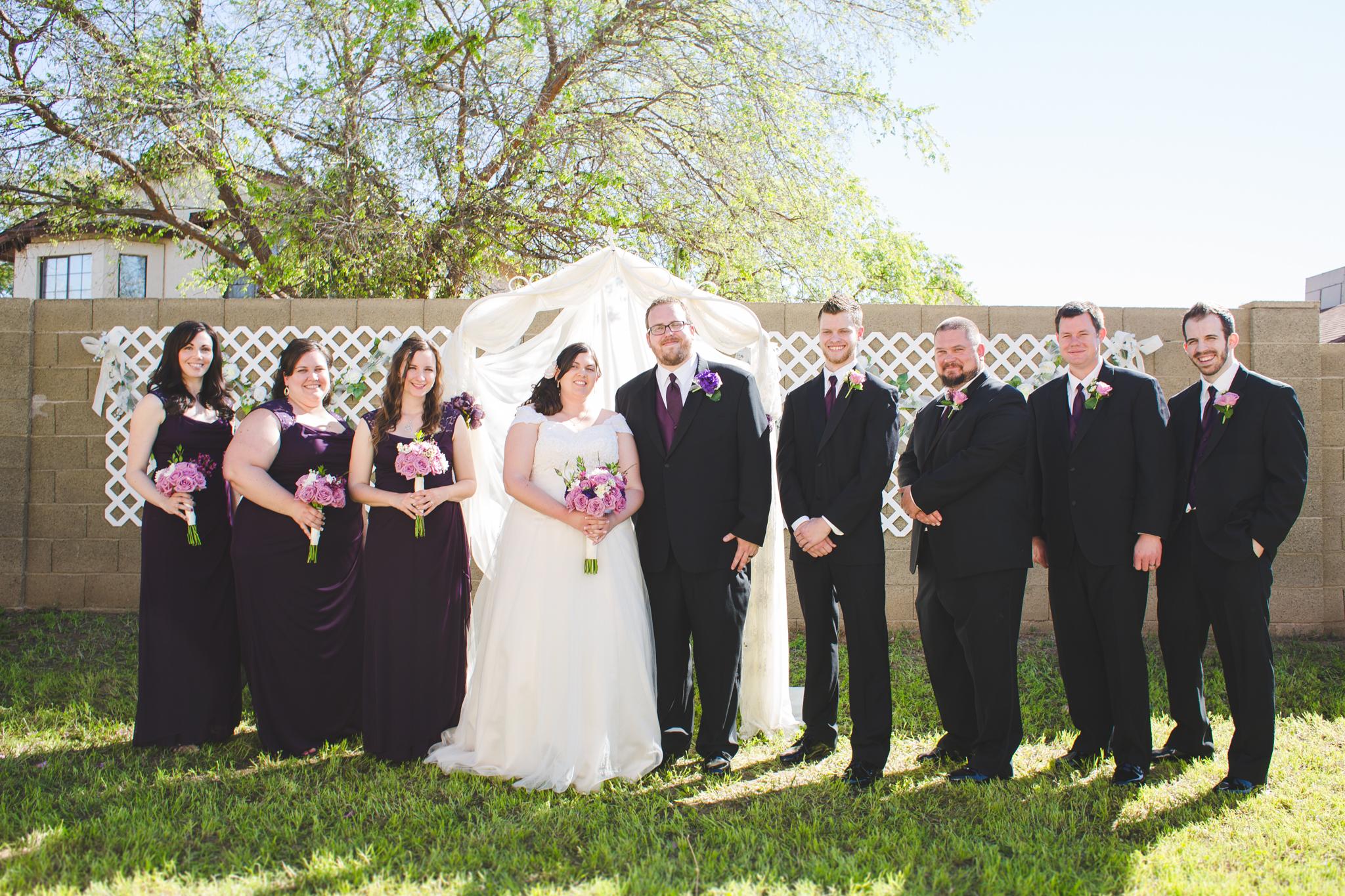 bridal party backyard wedding sd