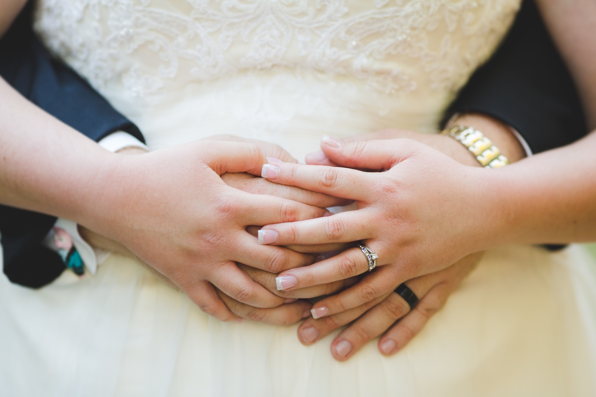 bride and groom hands intwined sd