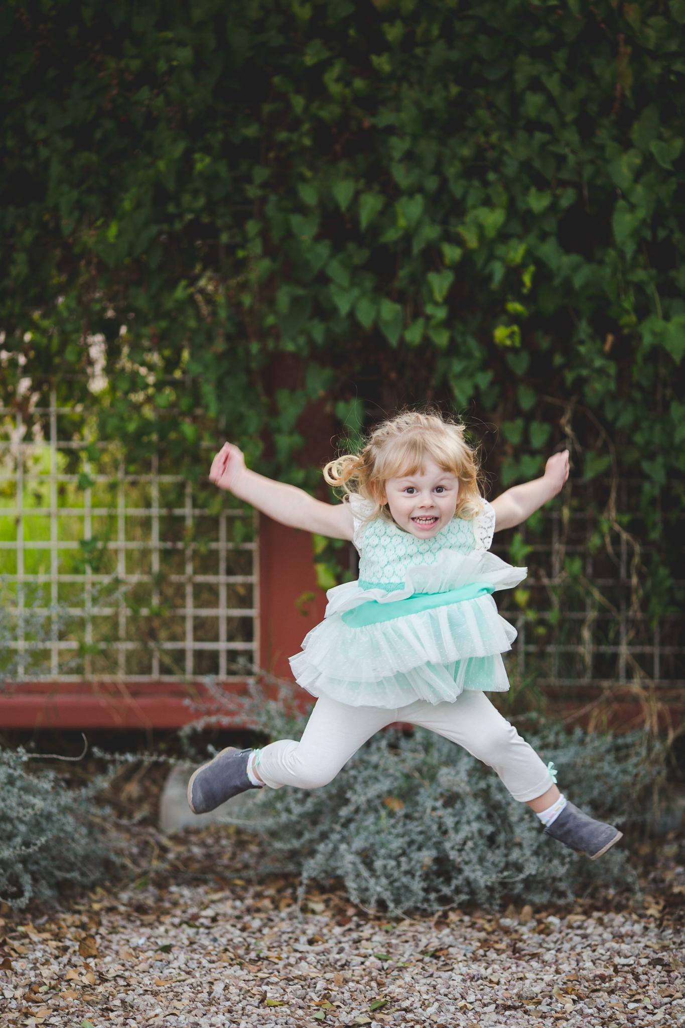 vote family daughter jumping around having fun