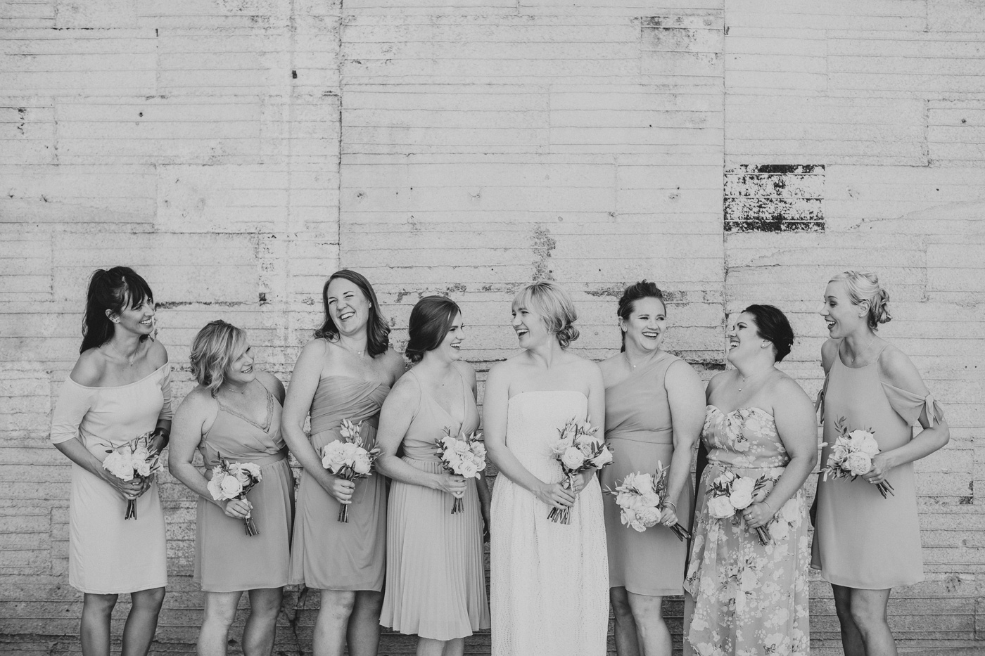 black-and-white-laughing-bridesmaids