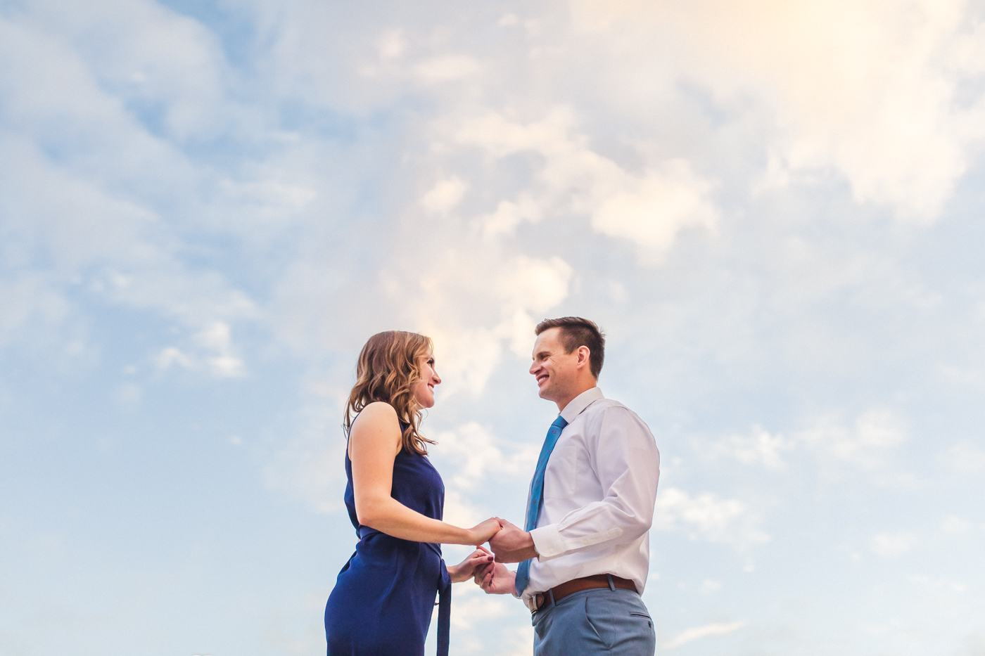 blue-sky-engagement-photo