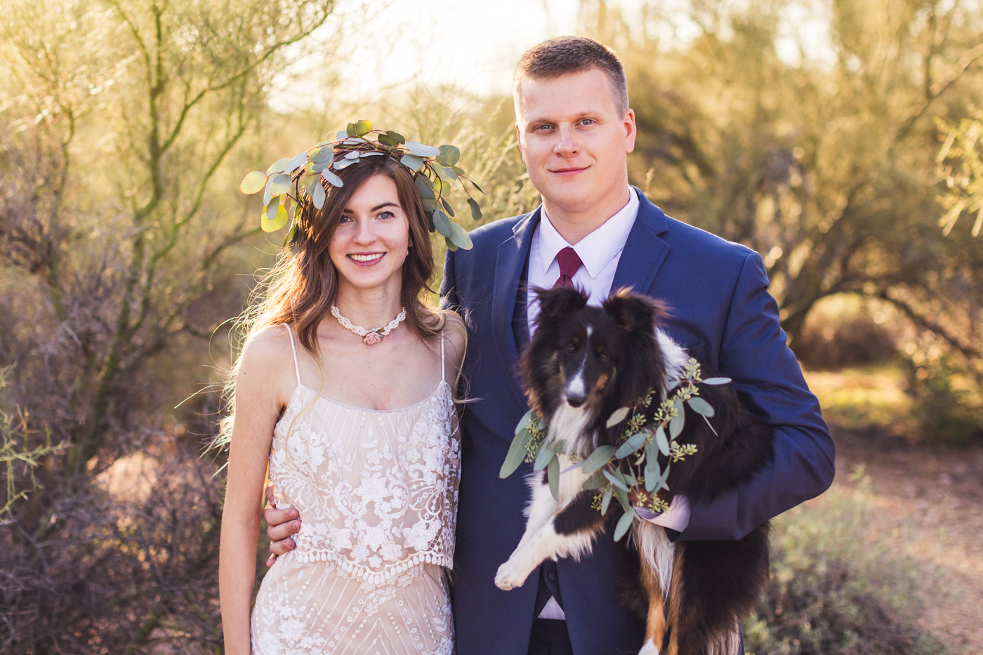 bride-groom-and-dog-at-desert-wedding
