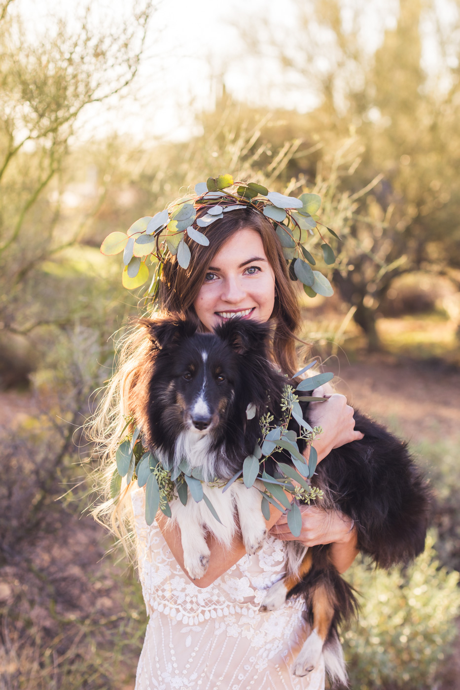 boho-bride-and-her-dog