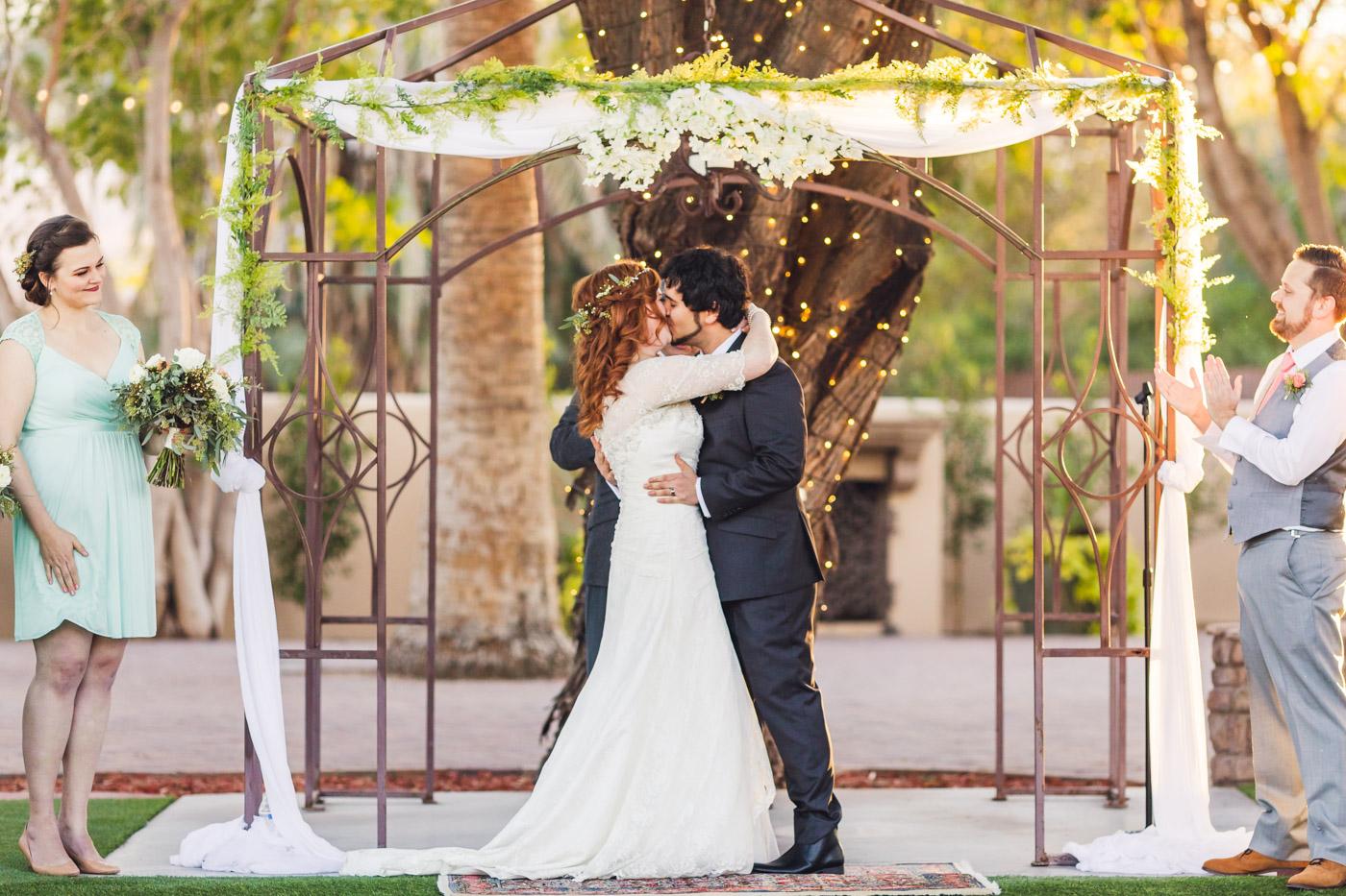 secret-garden-event-center-wedding-first-kiss