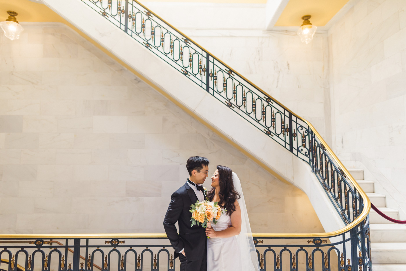romantic-sf-city-hall-stairs-wedding-portrait