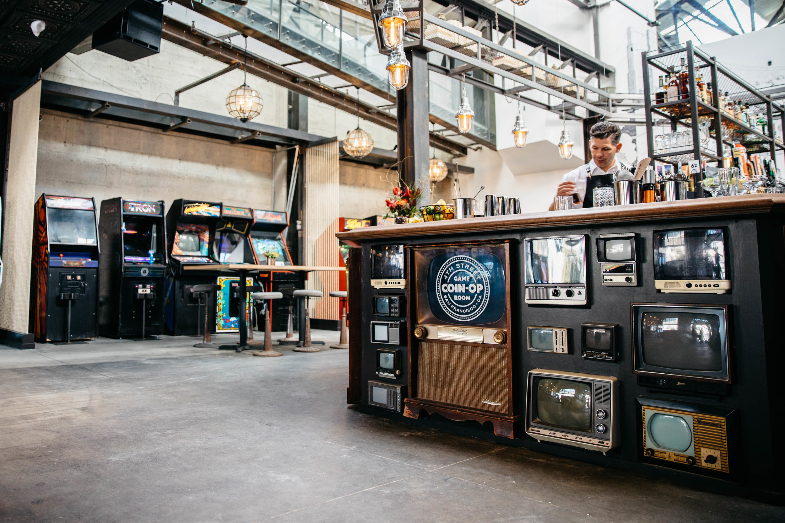 """A favorite would be the vintage TV die wall around the main Octagon bar. We scoured the country for those TVs."""