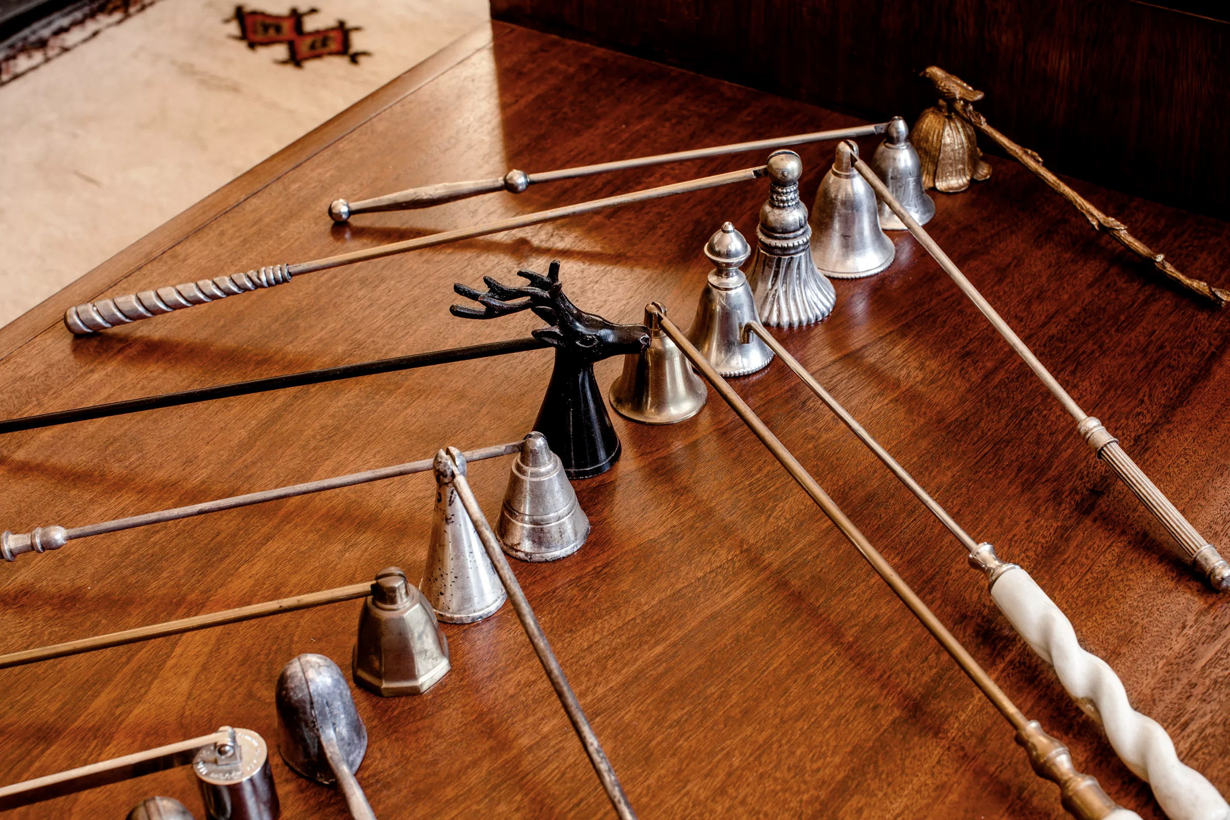 A collection of candle snuffers became a graphic display when grouped together.