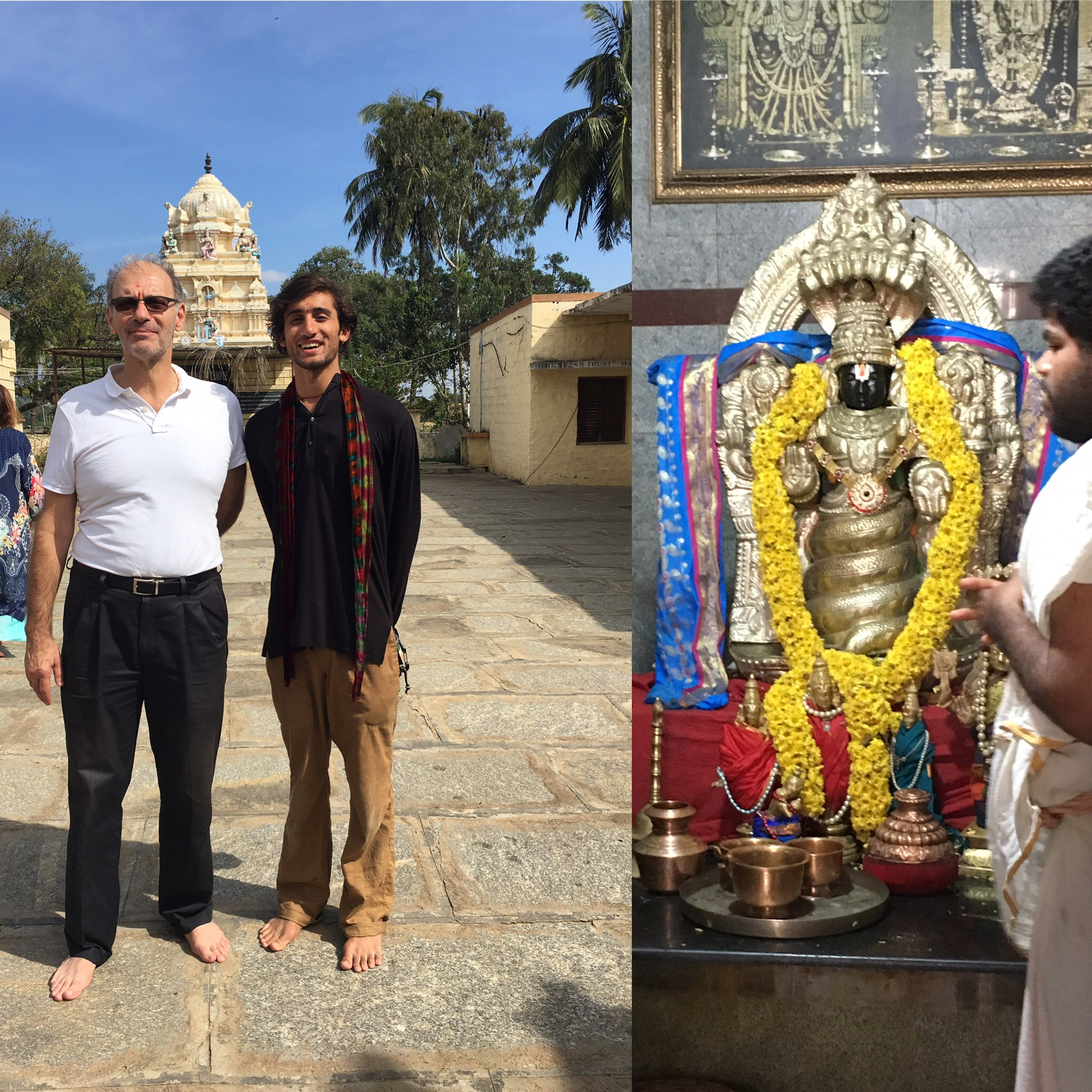 In front of the worlds first Patanjali temple• commissioned by BKS Iyengar with Mr. Manouso