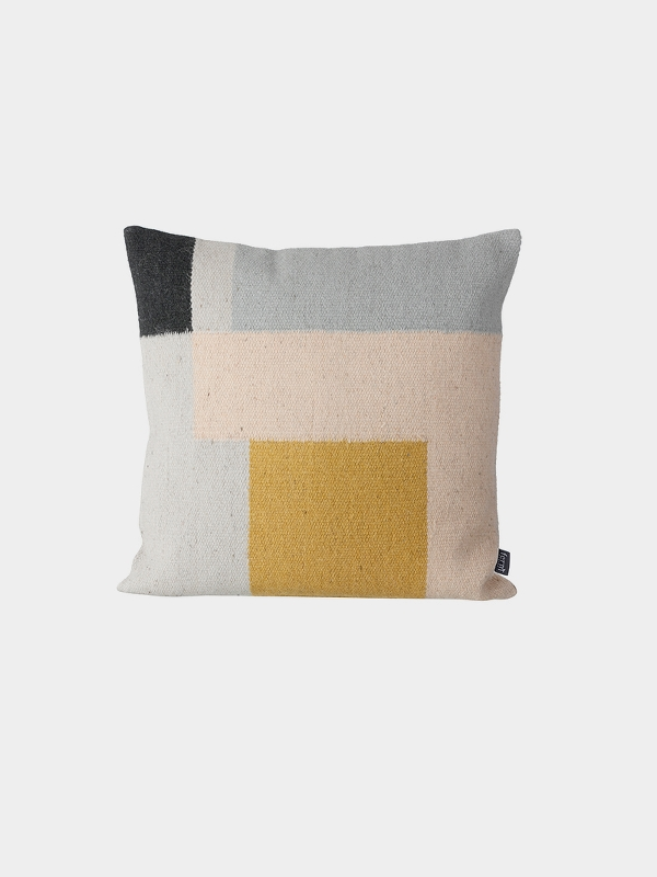 Kelim Cushion:Squares - The Kelim range is hand-dyed and made of 80% wool and 20% cotton.The weaving technique is 'Punja' loom which is a traditional manual loom and one of the oldest weaving techniques.