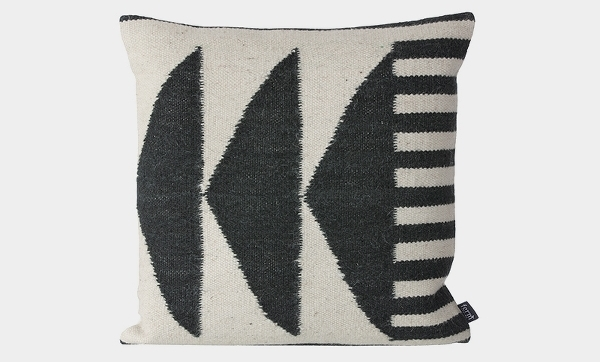 Kelim Cushion: Black Triangles