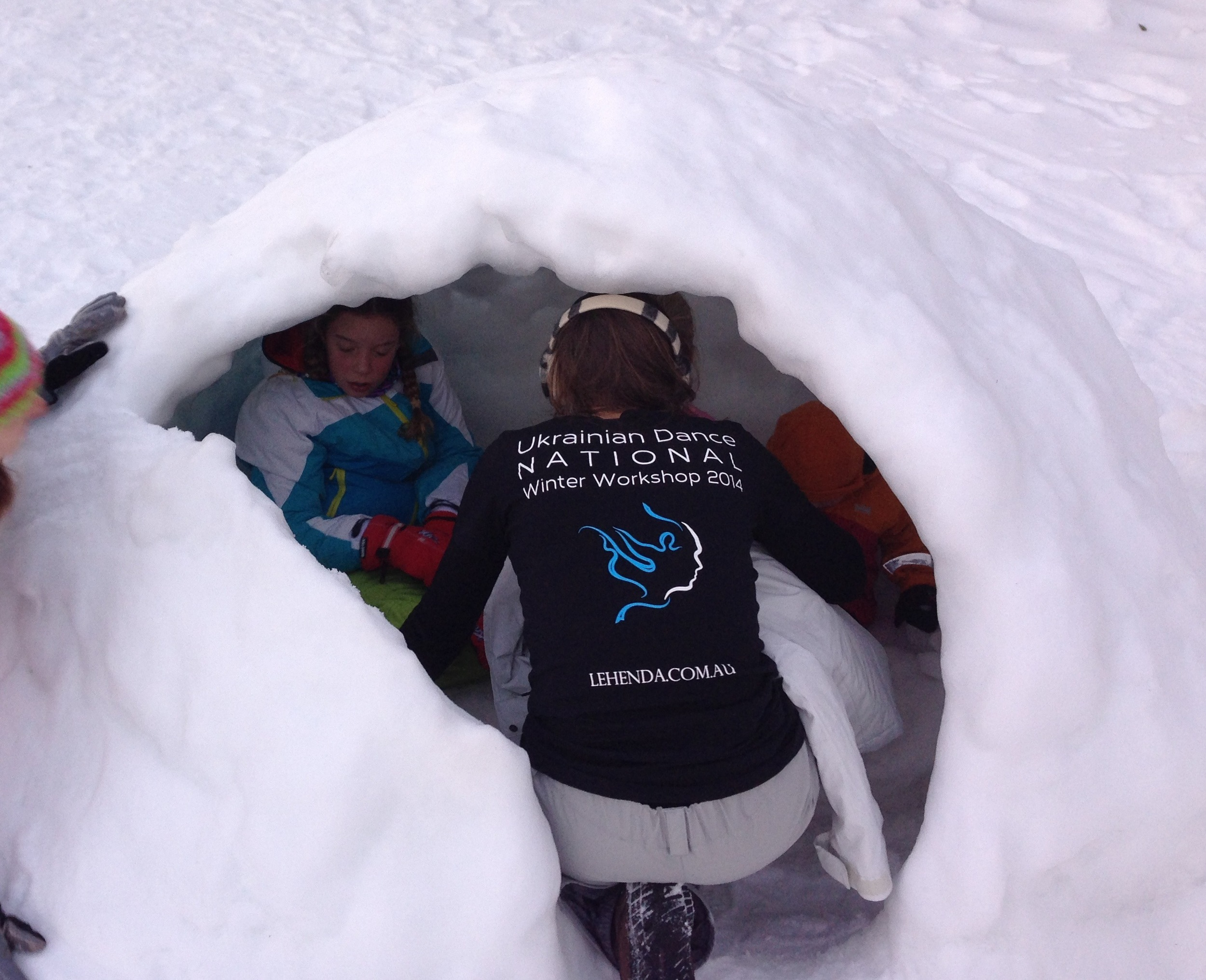 winter workshop dancer in an igloo!