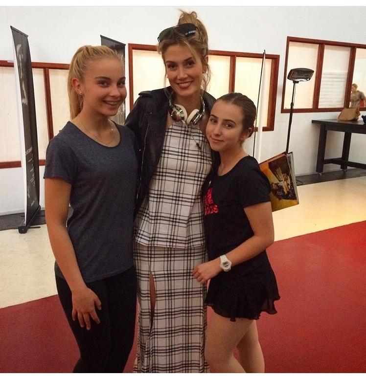 Lydia and Gabriella with Delta Goodrem between Lehenda School Classes