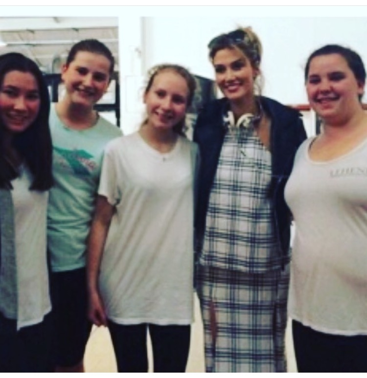Youth Company dancers with Delta Goodrem between classes!