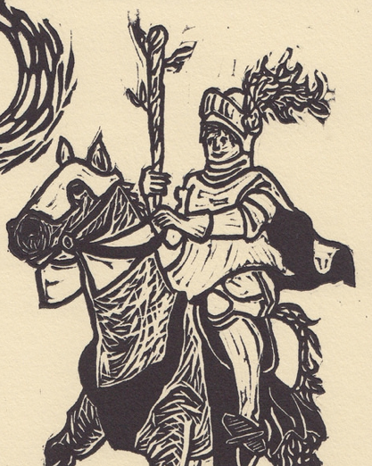 Detail of  Knight of Wands  (2014).