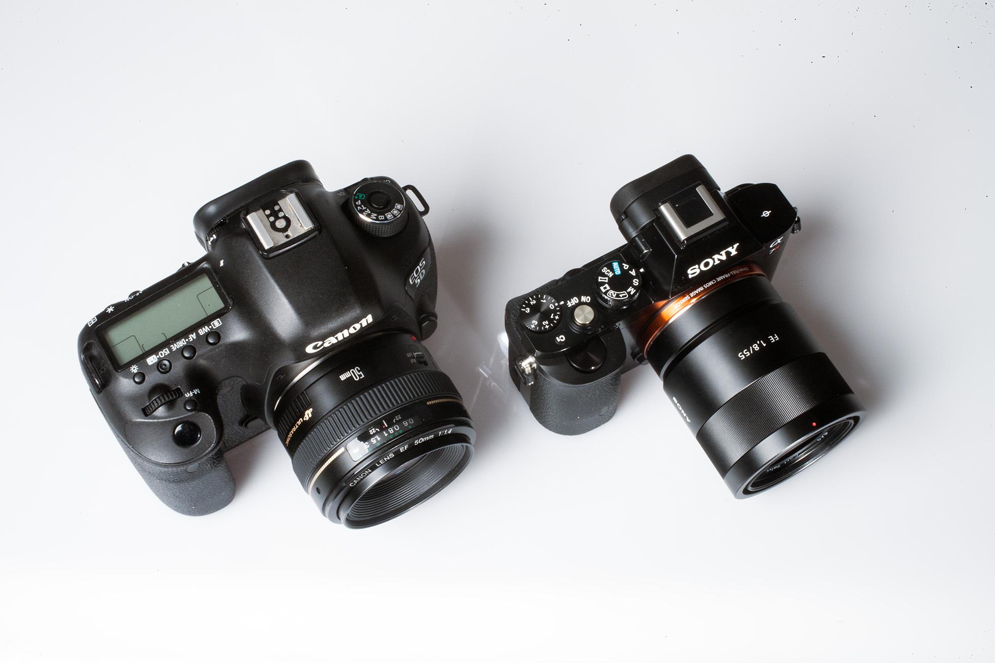 Links: 1200 g, 22 Mpx, 61 Punkt AF, 1080p Full-HD-Videos Rechts: 740 g, 34.6 Mpx, 304 Punkt AF, 1080p Full-HD-Videos
