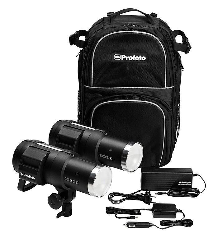 Das Profoto Off-Camera-Flash-Set mit zwei Profoto B1, Ladegerät, Autoladegerät und Transport-Rucksack (Bild: Profoto)