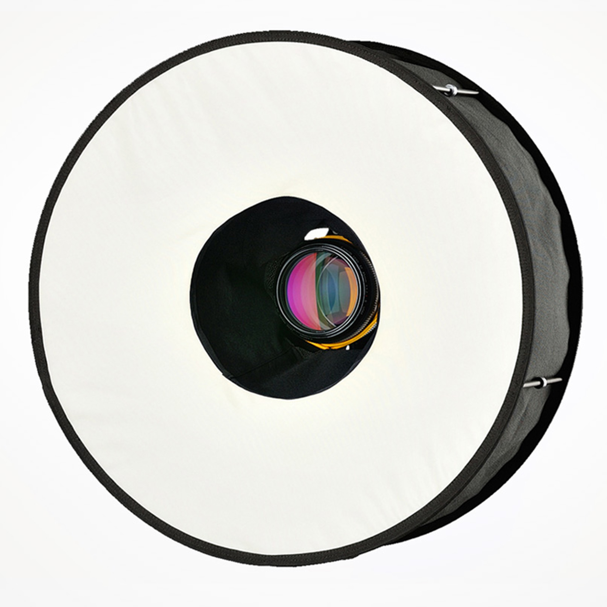 Die Kamera mit angesetztem Roundflash