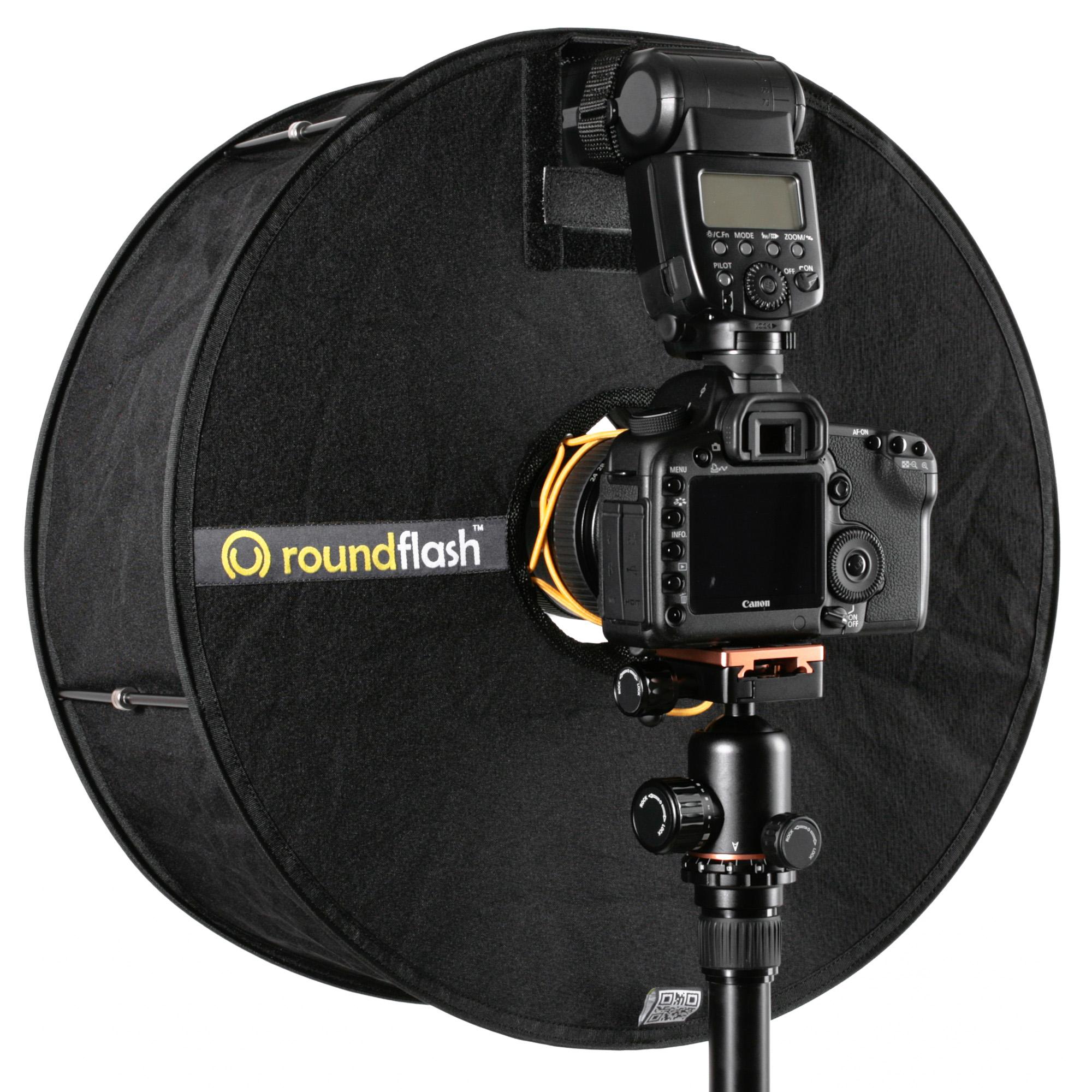 Der Roundflash von hinten: Das Kameraobjektiv ist umhüllt. Der Blitz zündet in den Roundflash hinein