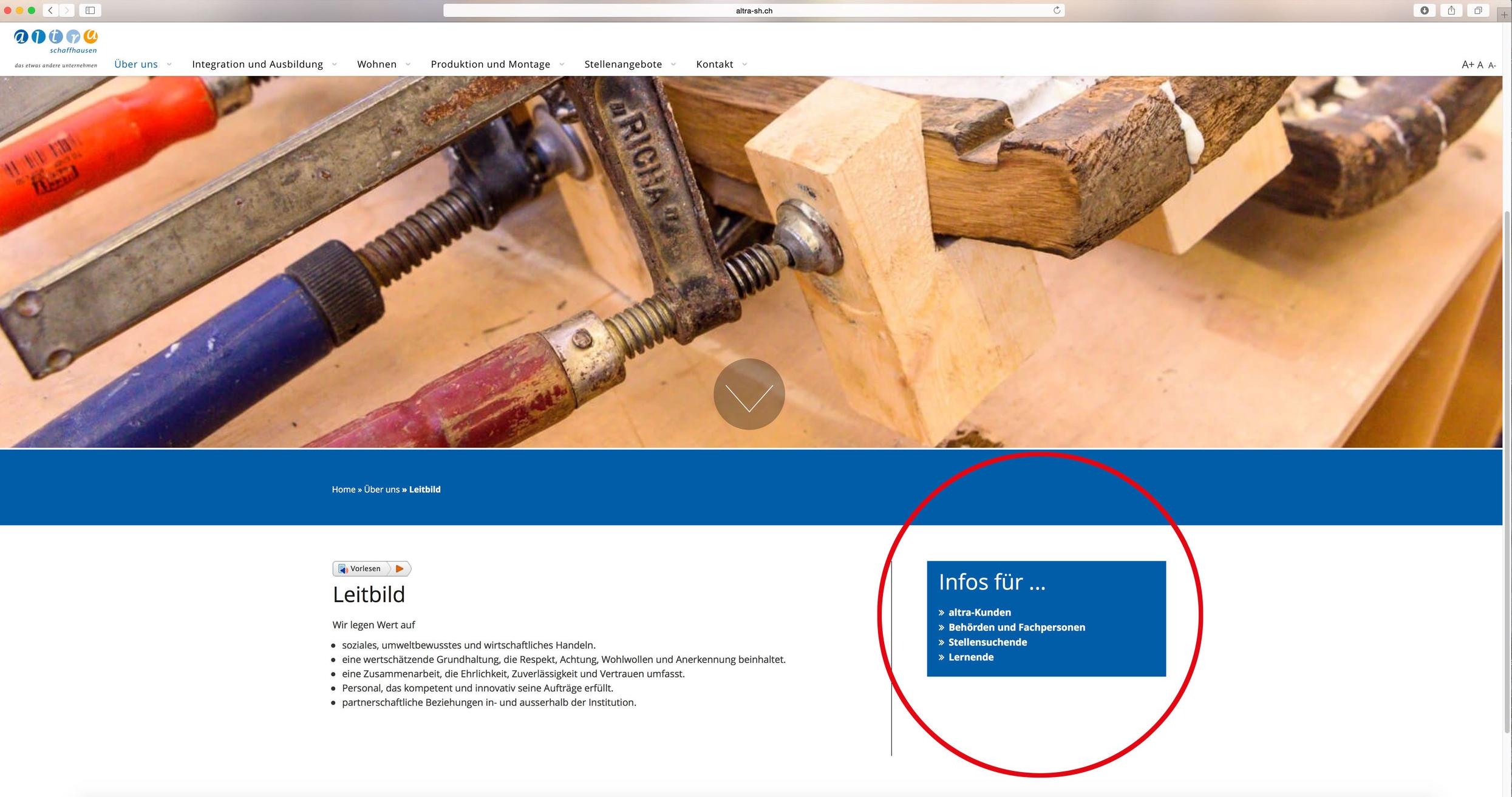 quicklinks auf altra homepage von 720 grad schaffhausen