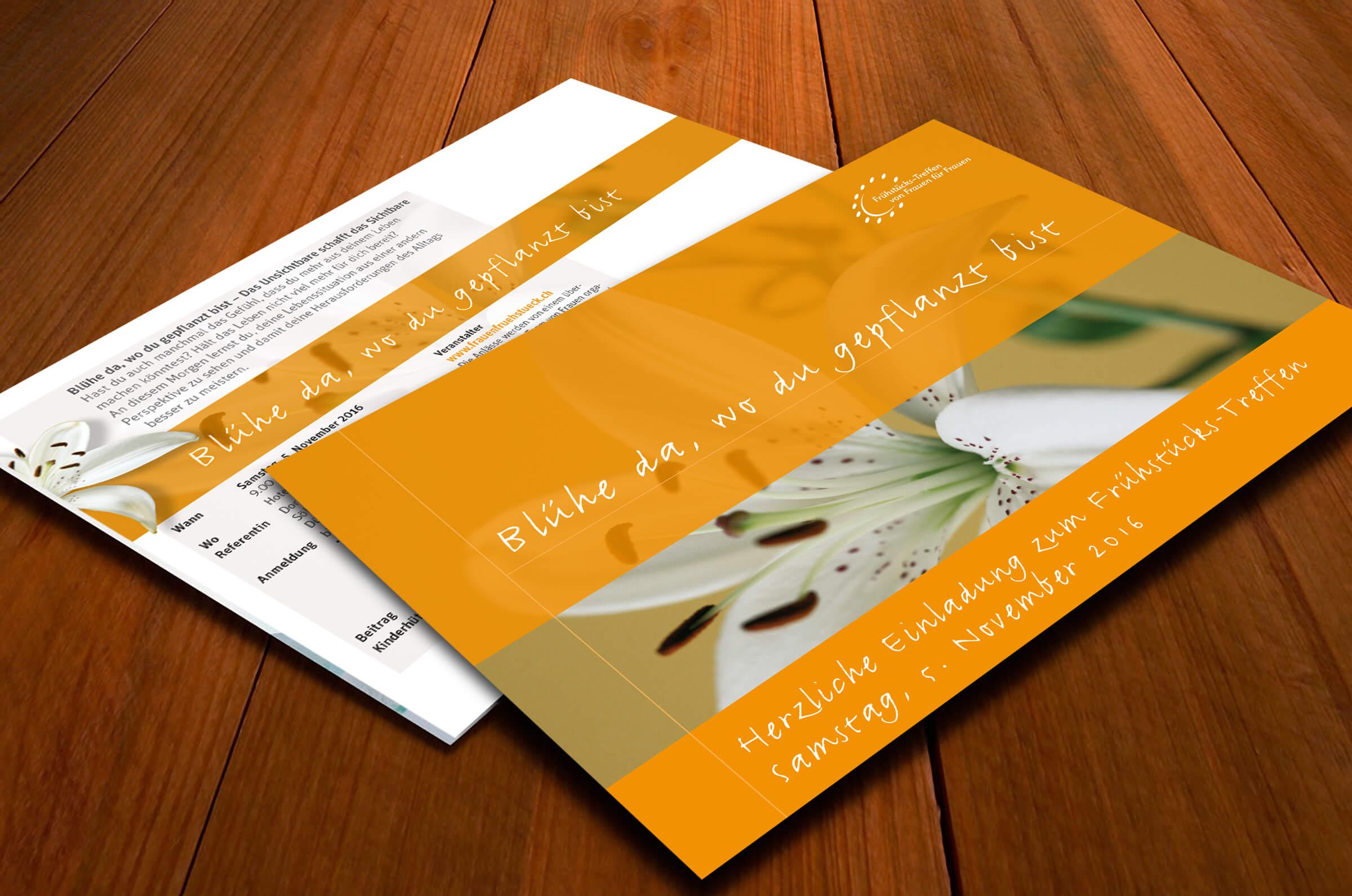 Die Einladungskarte für das Frauen-Frühstückstreffen, wie wir sie rund acht Jahre eingesetzt haben.