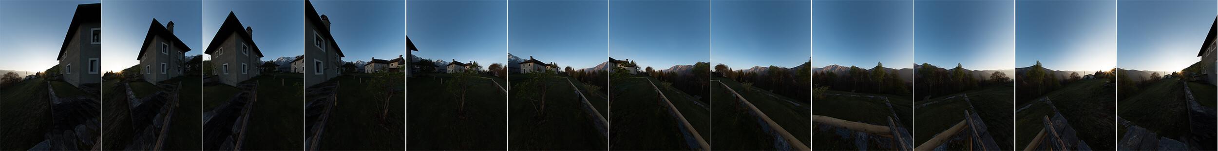 Über Lightroom kann die Verzerrung des Fisheyobjektivs herausgerechnet werden. Erst diese entzerrten Bilder können zusammengestitcht werden: