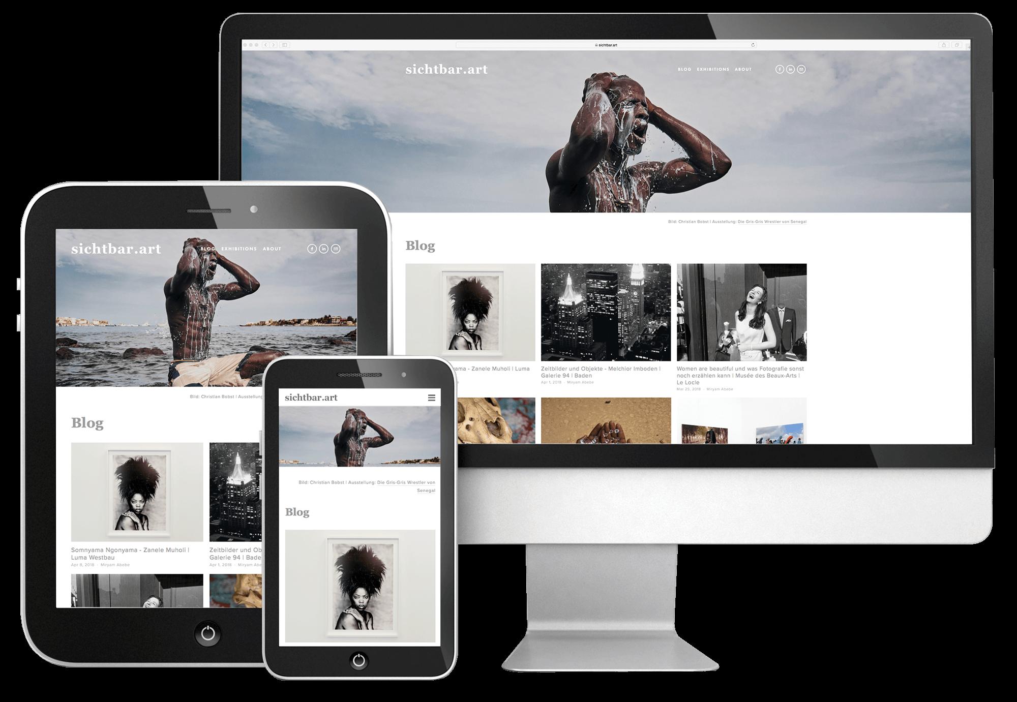 sichtbar.art ist selbstverständlich voll responsiv, damit die Website auch auf Mobilgeräten perfekt angezeigt wird. Alle Bilder auf der Homepage von sichtbar.art sind © der/des jeweiligen Fotografin/Fotografen.