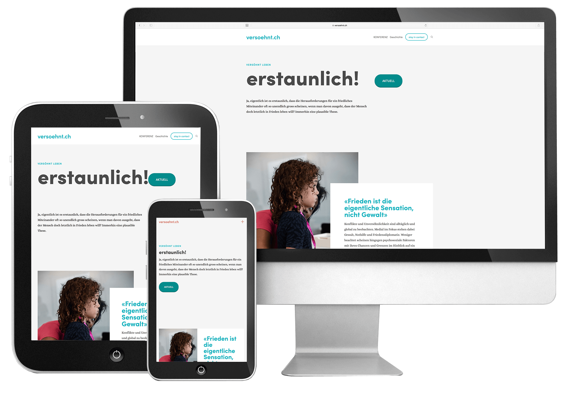 Webdesign von 720 Grad GmbH für versoehnt.ch