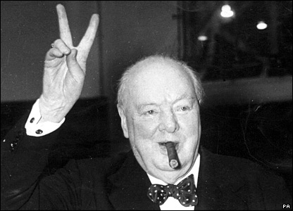 "Sir Winston Churchill using the appropriate ""V for victory"" sign. Being a man of the upper classes, he was unaware of the vulgar connotations when making the ""V"" palm inward."