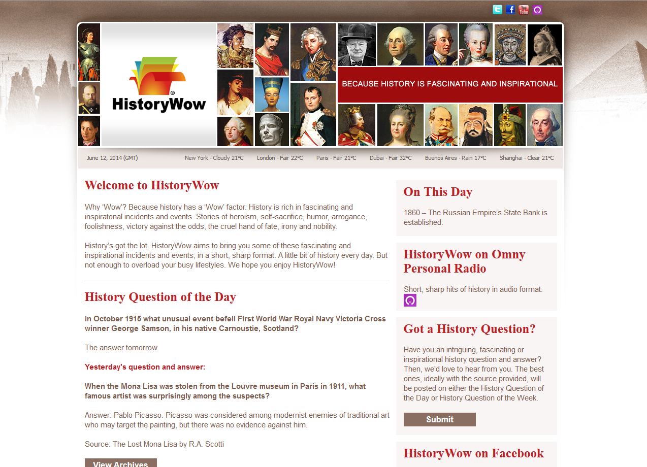 Historywow.com, because history is fascinating and inspirational