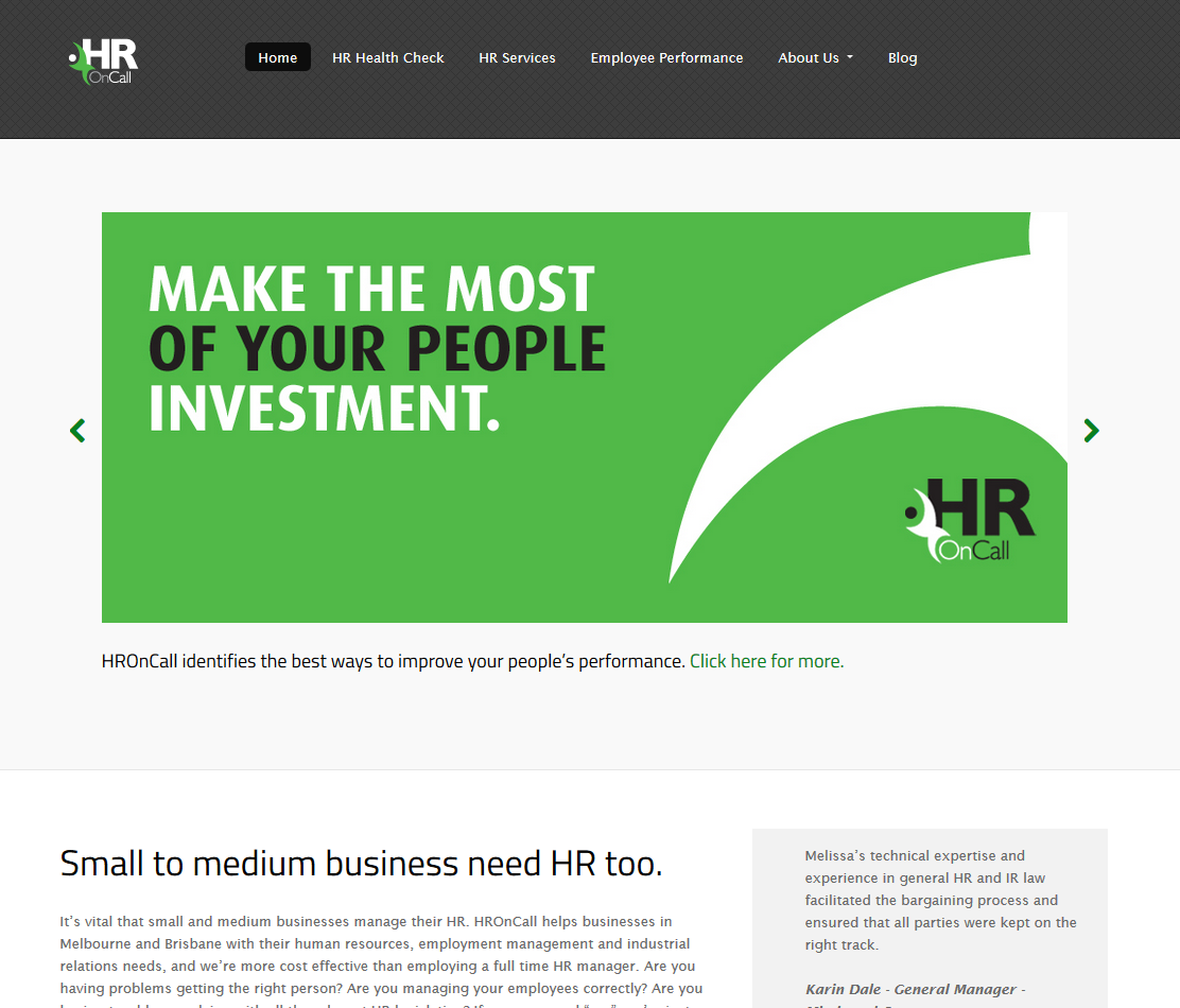 HROnCall - Human resources consulting for small and medium businesses (June 2014)