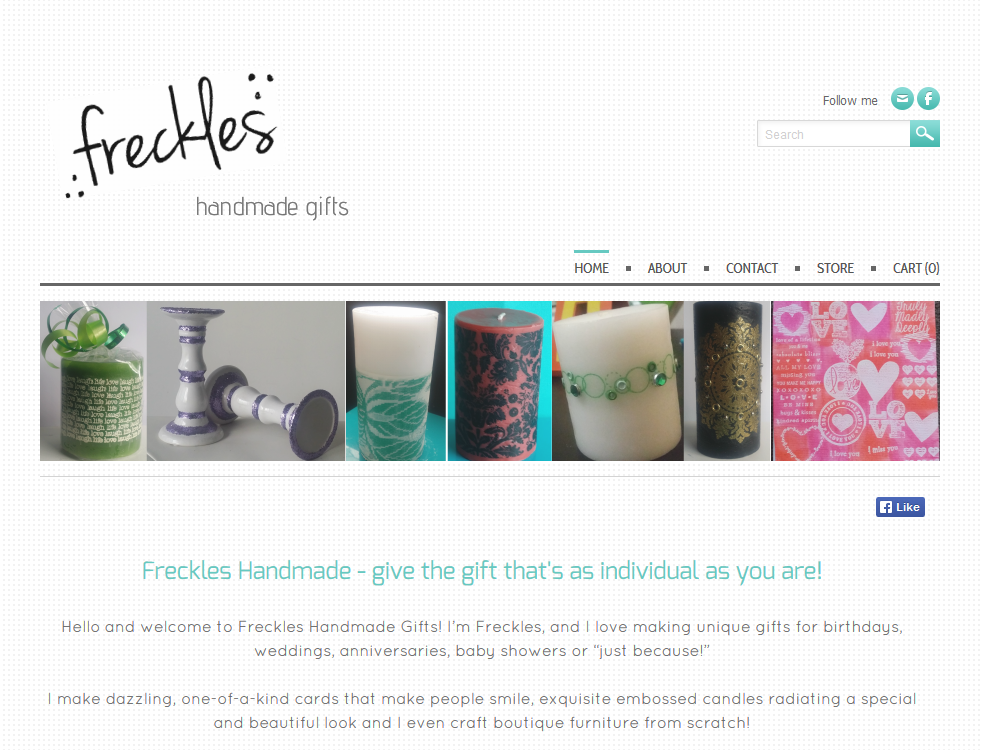 "Freckles Handmade Gifts is beautiful, elegant gifts without the huge price tag. They're made with love by Jamie ""Freckles"" Pilton right out of her little studio in Eastern Melbourne!"