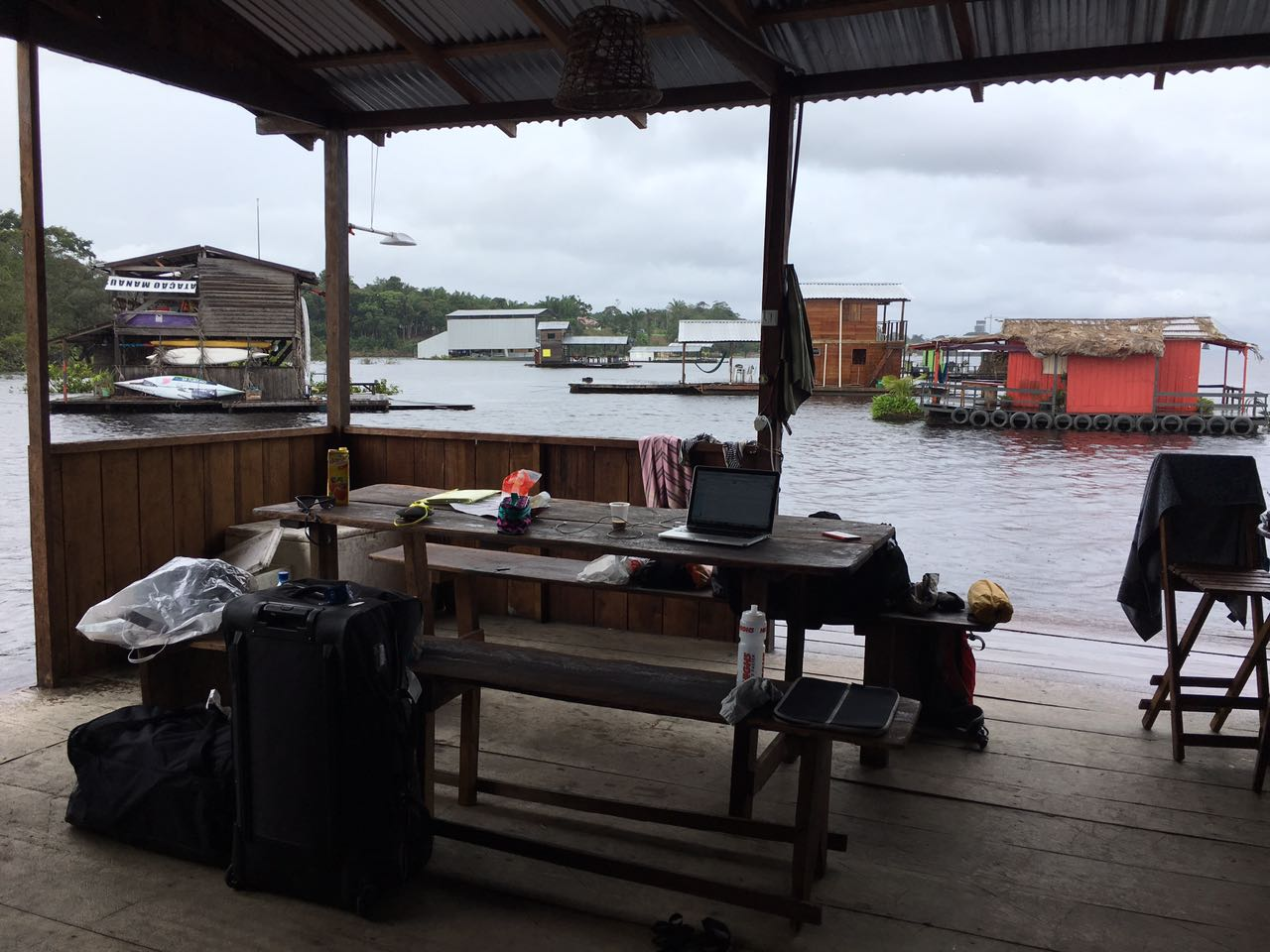 My office on our boat house on the Amazon River.