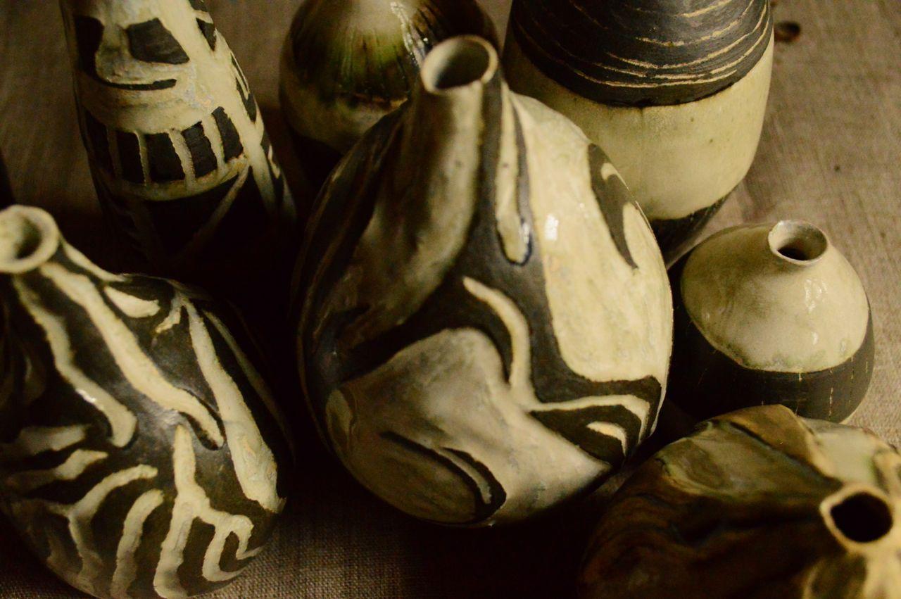 Stoneware vases, burnished and glazed