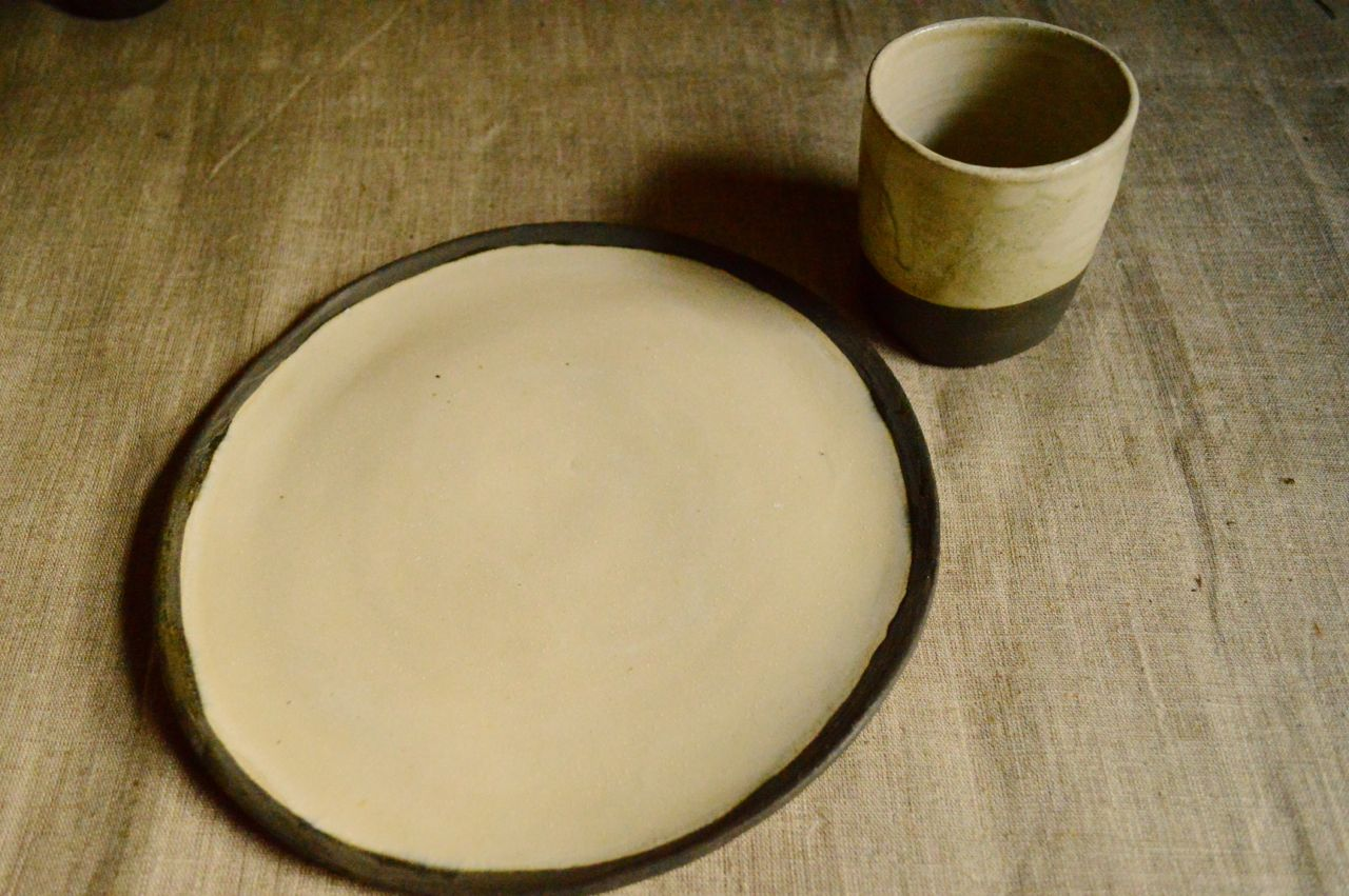 Simple place setting, glazed and burnished