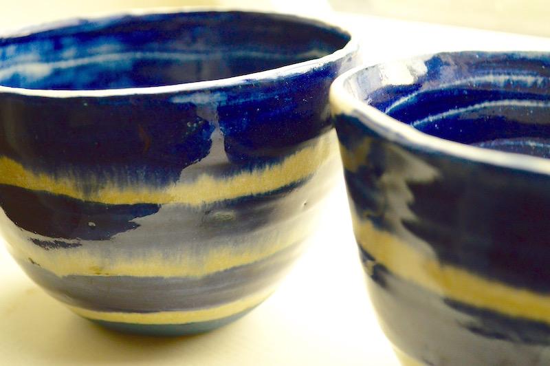 cobalt soup bowls - white stoneware white clay 20% .2mm grog / 1250° C