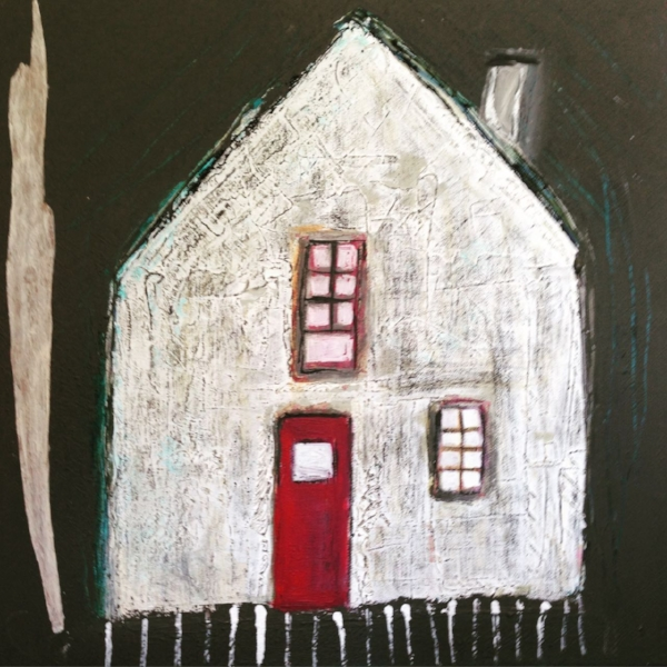 She Built Her Own House 40x40 cm mixed media collage on gallery canvas.  (available)  200 euro plus shipping