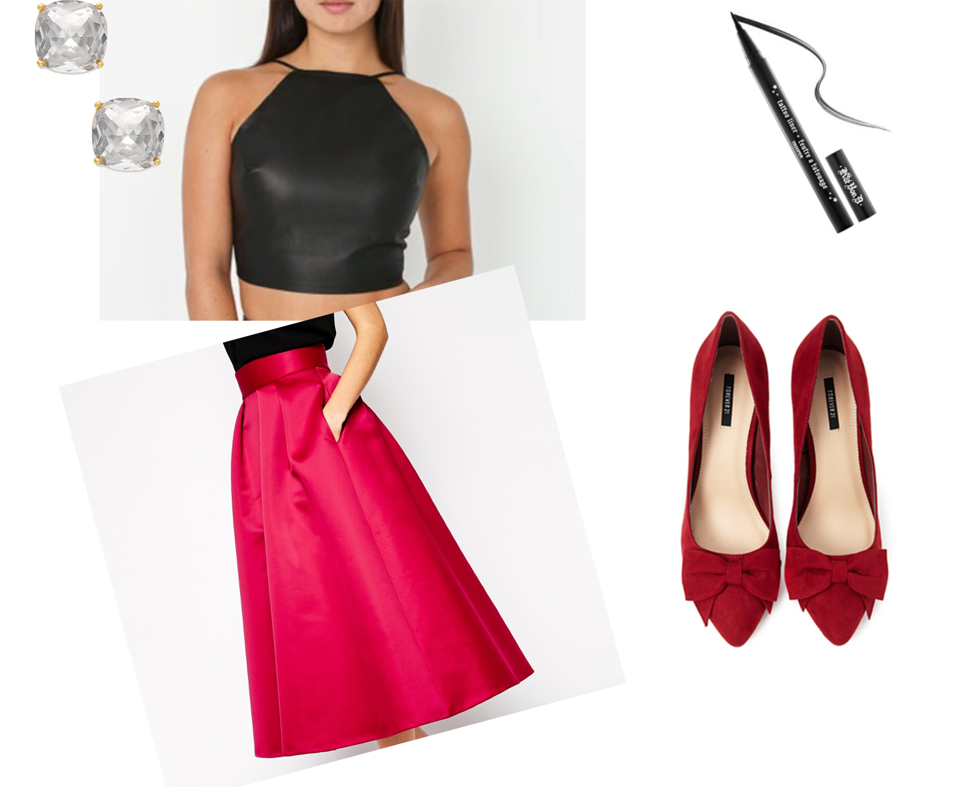 This sexy, backlessleather  t  op and dark liner balances the flirty red silk  s  kirt and bowed  p  umps ;making this look the perfect combination of cute and sexy.  Also shown:  s  tuds