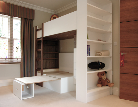 Handmade kids bunk beds with pull out desk unit