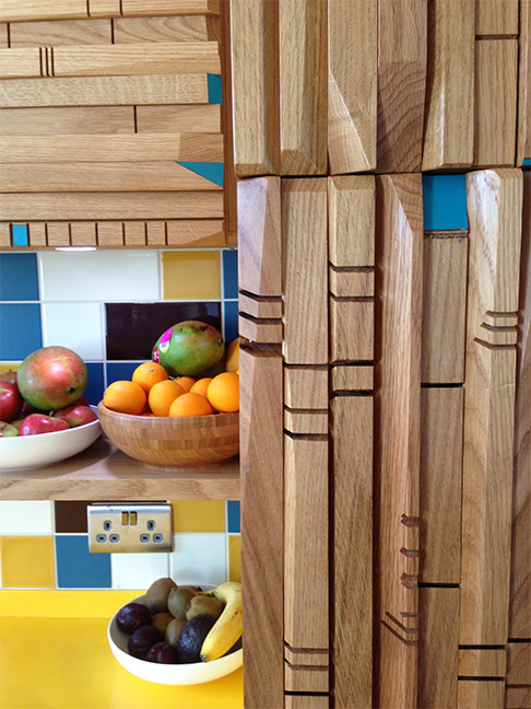 Oak yellow and blue kitchen cabinet