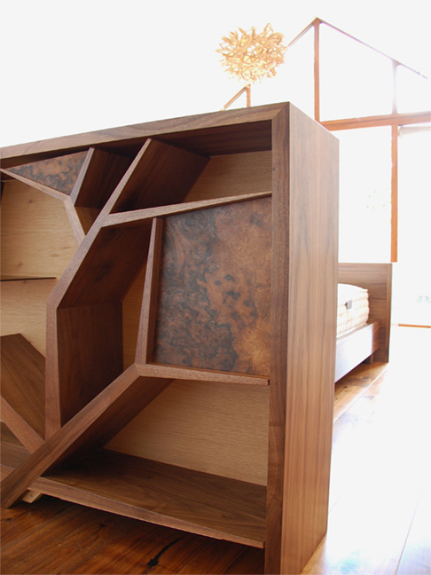 Walnut bed head tree design with storage